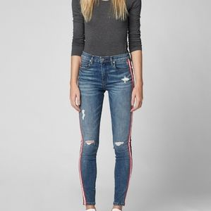 Blank NYC Blue Skinny Distressed Striped Jeans